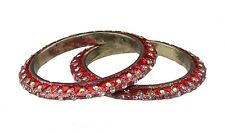 Pair of Red glitter,diamante & triangle stone bangles Indian Bollywood Jewellery