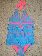 New Girls Justice One Piece Swim Suit Swimsuit Size 7 Blue Pink Lace 3525 671