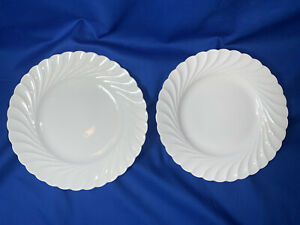 """2 LUNCH PLATES 8 1/2"""" RARE BLANK Old Ivory Hermann Ohme Silesia Germany 1910"""