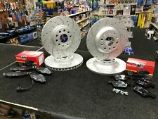 AUDI A3 2.0TFSi TSi 200bhp CROSS DRILLED GROOVED BRAKE DISCS PADS FRONT REAR SET