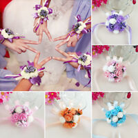 New 1PC Women Bridal Bridesmaid Wrist Wedding Party Corsage Bracelet Hand Flower