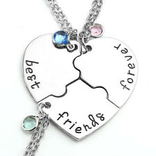"""3pc/Set Puzzle Friendshi """"Best Friends Forever and Ever"""" Pendant Heart Necklace"""