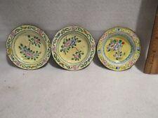 "3 Chinese Cloisonne Enamel Trinket Dish Plate Bowl Yellow Floral Design 3 3/4"""