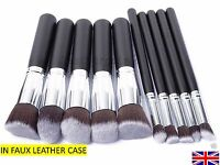 10pcs Kabuki Style Prof Fd'n Blusher Face Powder Make up Brush Set GREAT VALUE