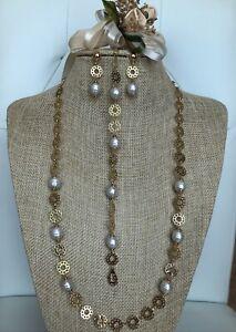 White Baroque Mallorca Pearls 3 Pcs Set 18K Gold Plated