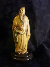 Antique hand painted  Chinese chalk man statue on wooden base