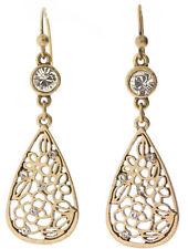 £25 Art Nouveau Gold Rose Flower Tear Drop Earrings Swarovski Elements Crystal