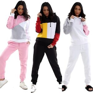 New Womens Tracksuit Set Stylish CONTRAST Hoodie Top Ladies Bottoms Jogging Gym