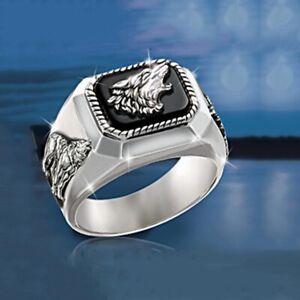 Men's Fashion Silver Signet wolf BLACK Fashion Biker ring band R109