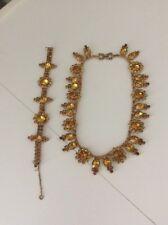 vtg GARNE JEWELRY Round Topaz Amber Rhinestones necklace bracelet art deco czech