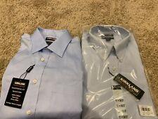 Lot Of 2 Kirkland Signature Mens Traditional Fit Dress Shirts 17 X 36/37 New