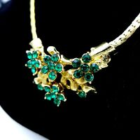 Vintage Necklace 1940's-50's Gold Plated Emerald Green Cut Crystals 15 1/2""