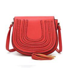 DESIGNER Inspired Cross Body Bag Shoulder Handbag Girl Women Simple Faux Leather Mlb077 - Red