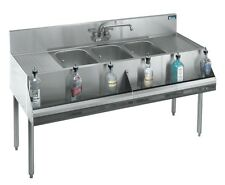 "Krowne Metal Stainless 3 Compartment Bar Sink w/ Two 12"" Drainboards 19""D"