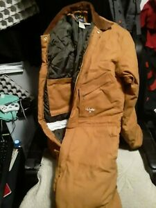 Walls Zero-Zone Work Wear Insulated Brown Duck Coveralls Size Med Reg (38-40)