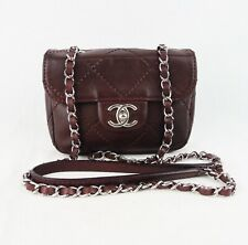 Authentic CHANEL Mini Flap Bag burgundy leather silver hardware crossbody