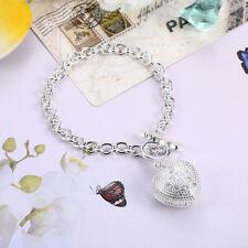 Armband Medaillon Herz Sterlingsilber pl. 925 Silberarmband Damen Anhänger b19a