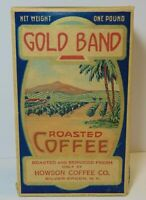 Old Vintage 1920s GOLD BAND COFFEE GRAPHIC 1 POUND BOX SILVER CREEK NEW YORK USA