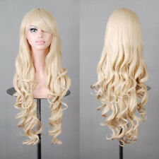 Women Long Wavy Curly Hair Anime Party Xmas Cosplay Wig Heat Resistant 80cm Light Blond