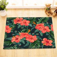 Tropical Palm Leaves Red Flowers Bath Mat Rug Non-Slip Bathroom Decor Carpet