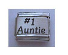 9mm Italian Charms  L71  # 1 Auntie No 1 Aunty Fits Classic Size Bracelet
