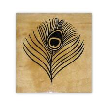 Peacock Eye Feather Mounted rubber stamp, small #20