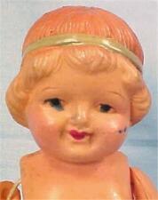 Vintage Celluloid Doll Little Girl Bobbed Hair Japan Hula Skirt Pink Socks Sweet