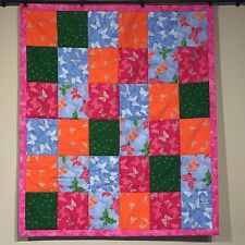 Butterfly Handmade Baby Quilt Girls Butterfly Pink Blue Cotton Nursery Lap Throw