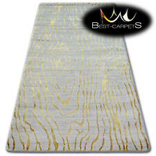 "VERY SOFT WOOL & ACRYLIC RUGS gold ""MANYAS"" Thick & Densely Woven HIGH QUALITY"