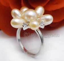 Fashion 20mm Pink Rice Natural Pearl Flower #9 Ring for Women Fine ewelry r25