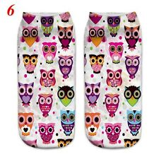 3d Unicorn Print Men Women Casual Low Cut Socks Cotton Animals Pattern Socks 6 Owl