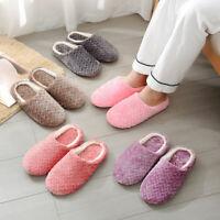 Women Winter Warm Cotton Slippers Soft Bottom Indoor Home Bedroom Floor Slides