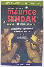 Maurice Sendak Promotional Flyer 50 Years Exhibit Children's Author Bookmark