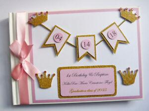 Personalised Princess / Gold crowns / girls birthday guest book, princess album