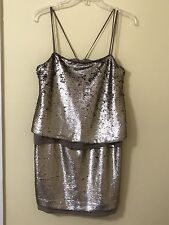 NWT Banana Republic Silver Sequin Metallic Dress Size 2 Cocktail Party Prom