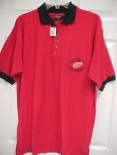 DETROIT RED WINGS Men Sewn Stitch Herring Pique Red Polo Shirt M Active New Tag