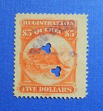 1870 $5.00 CANADA QUEBEC REGISTRATION REVENUE VD# QR15 B# 11 USED PERF12 CS32228