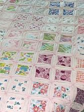 "WOW AMAZING Vintage Handmade Hand Stitched Cathedral Window Quilt 66"" x 85"""