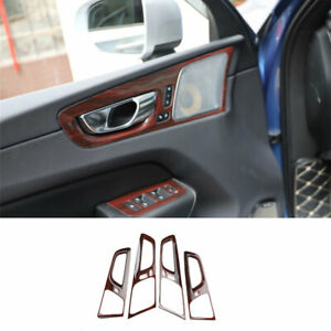 For Volvo XC60 2018-2021 ABS Peach Wood Grain Inner Door Handle Cover Trim 4X
