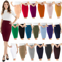 Velucci Womens Stretchable Pencil Skirt - Knee Length Classic Skirt