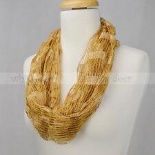 Crochet Spring Summer Infinity Scarf Loop Solid Color Thread Knit Fishnet Light