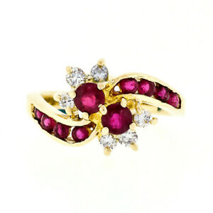 Vintage 14k Gold 1.24ctw Dual Round Blood Red Ruby & Diamond Cluster Bypass Ring