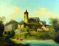 "perfect oil painting handpainted on canvas""Romantic castle with a lake""@N11202"