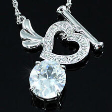 Crystal White Gold Plated CZ Costume Necklaces & Pendants