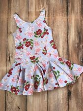 EUC Kate Mack Biscotti Scuba Girls Floral Dress Cherries Sz 6 Light Blue Easter