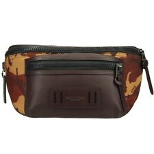 Coach Camouflage Men's Mesh,Leather Fanny Pack,Pouch Bordeaux,Brown,Camouflage,O