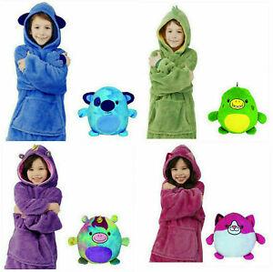 Kids Hoodie Blanket Sweatshirt Oversize Pets Plush Soft Warm Blanket Coat Pillow