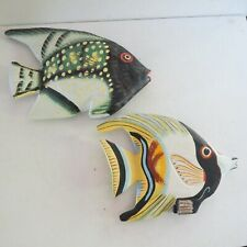 """2 Vtg Carved Deco Wooden Display Fish~Hand painted~6"""""""