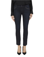 BLACK ORCHID Bardot Straight Fray Eyelet Jeans Dark Blue Dead Of Night 26 #602