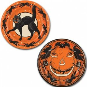 Vintage Halloween 9 Inch Paper Plates 8 Pack Halloween Tableware Decorations
